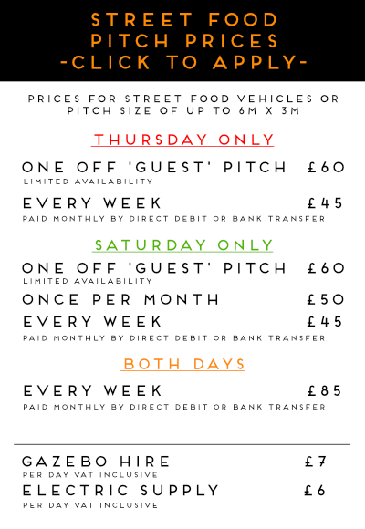 Horsham Markets Street Food Pitch Prices